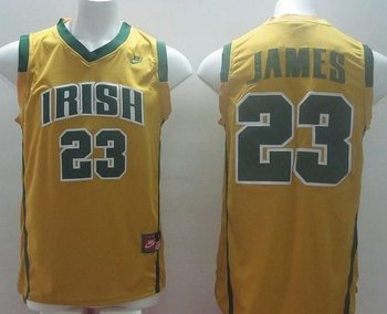 Notre Dame Fighting Irish #23 Lebron James Yellow Basketball Stitched NCAA Jersey