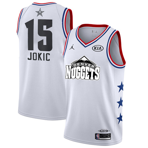 Nuggets #15 Nikola Jokic White Basketball Jordan Swingman 2019 All-Star Game Jersey