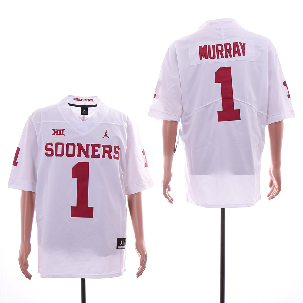 Oklahoma Sooners 1 Kyler Murray White College Football Jersey