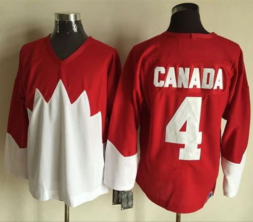 Olympic CA. #4 Canada Red White 1972 Commemorative CCM Stitched NHL Jersey