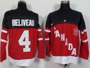 Olympic CA. #4 Jean Beliveau Red 100th Anniversary Stitched NHL Jersey