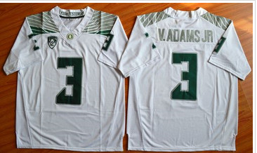 Oregon Ducks #3 Vernon Adams Jr. Olive White Stitched NCAA Jersey