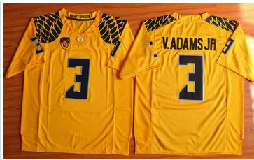 Oregon Ducks #3 Vernon Adams Jr. Olive Yellow Stitched NCAA Jersey