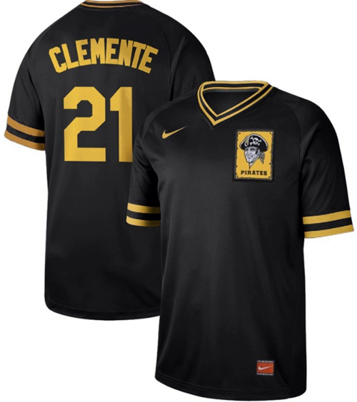 Pirates #21 Roberto Clemente Black Authentic Cooperstown Collection Stitched Baseball Jersey