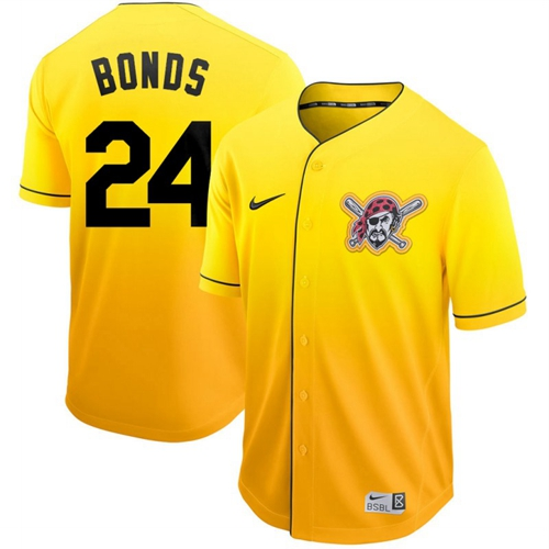 Pirates #24 Barry Bonds Gold Fade Authentic Stitched Baseball Jersey