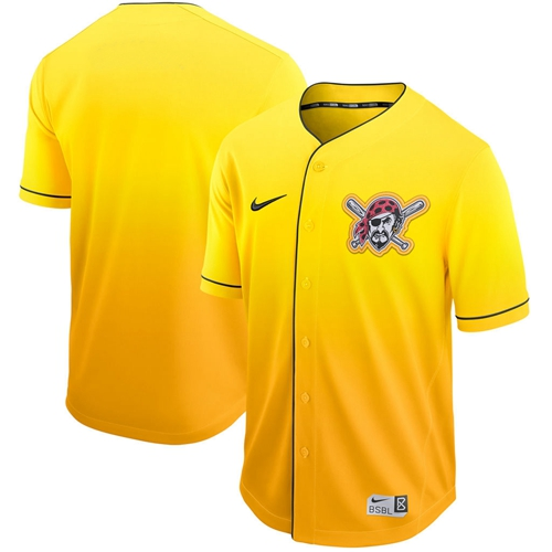 Pirates Blank Gold Fade Authentic Stitched Baseball Jersey