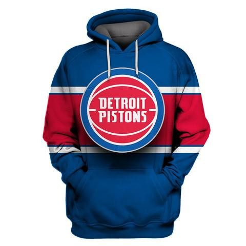 Pistons Blue All Stitched Hooded Sweatshirt