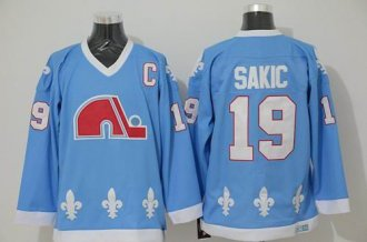 Quebec Nordiques #19 Joe Sakic Light Blue CCM Throwback Stitched NHL Jersey