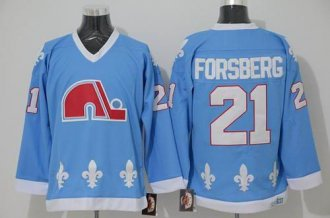 Quebec Nordiques #21 Peter Forsberg Light Blue CCM Throwback Stitched NHL Jersey