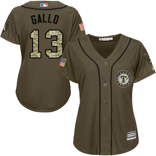 Rangers #13 Joey Gallo Green Salute to Service Women's Stitched Baseball Jersey