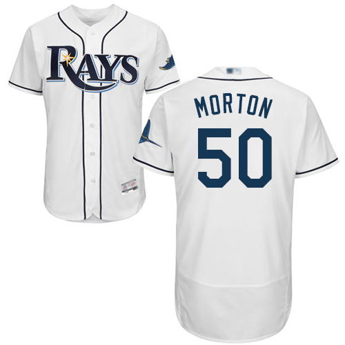 Rays #50 Charlie Morton White Flexbase Authentic Collection Stitched Baseball Jersey