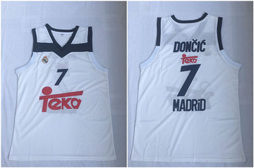 Real Madrid 7 Luka Doncic White Black Basketball Home Jersey 2017-18