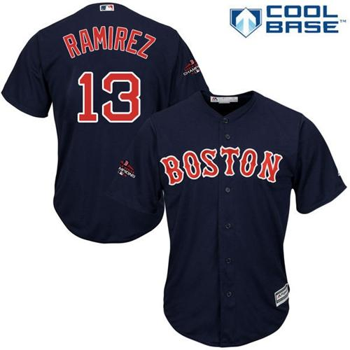 Red Sox #13 Hanley Ramirez Navy Blue Cool Base 2018 World Series Champions Stitched Youth MLB Jersey
