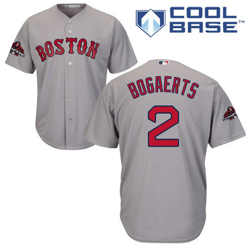 Red Sox #2 Xander Bogaerts Grey Cool Base 2018 World Series Champions Stitched Youth MLB Jersey