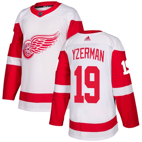 Red Wings #19 Steve Yzerman White Road Authentic Stitched Hockey Jersey