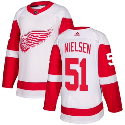 Red Wings #51 Frans Nielsen White Road Authentic Stitched Hockey Jersey