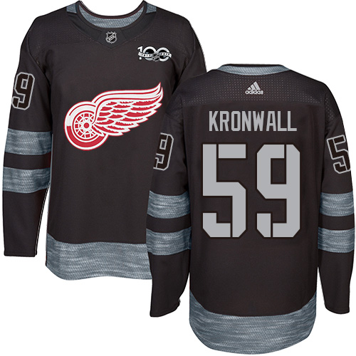 Red Wings #59 Niklas Kronwall Black 1917-2017 100th Anniversary Stitched Hockey Jersey