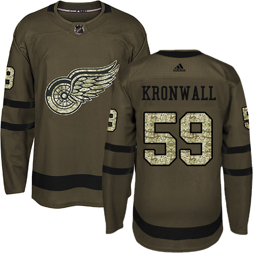 Red Wings #59 Niklas Kronwall Green Salute to Service Stitched Hockey Jersey