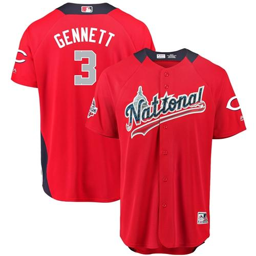 Reds #3 Scooter Gennett Red 2018 All-Star National League Stitched Baseball Jersey