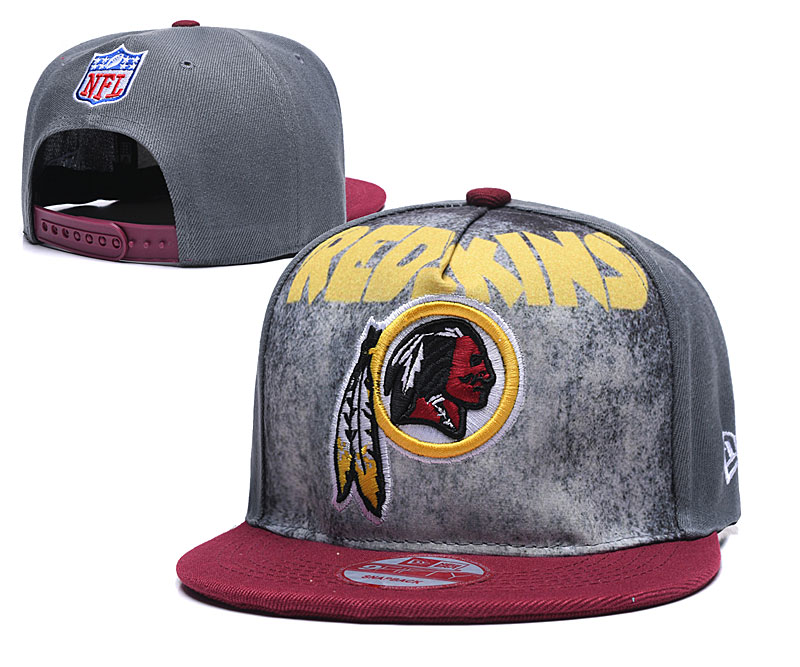 Redskins Team Logo Gray Red Adjustable Hat TX