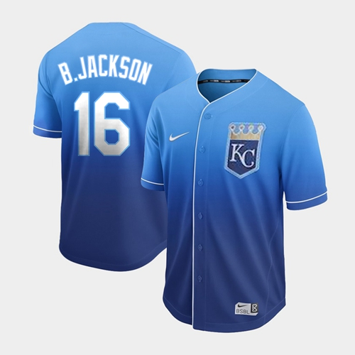 Royals #16 Bo Jackson Royal Fade Authentic Stitched Baseball Jersey