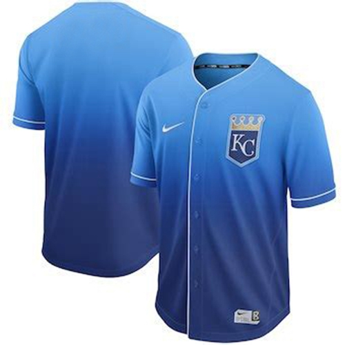 Royals Blank Royal Fade Authentic Stitched Baseball Jersey