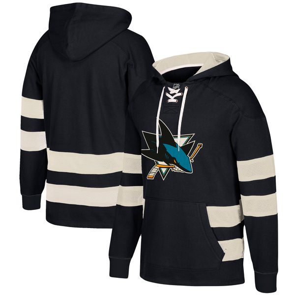 San Jose Sharks Black Men's Customized All Stitched Hooded Sweatshirt