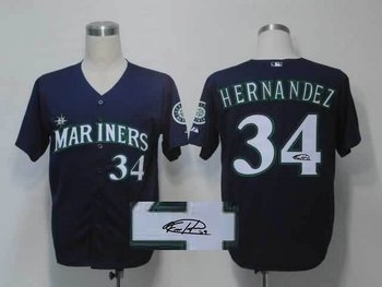 Seattle Mariners 34# Felix Hernandez Blue Throwback M&N MLB Jerseys(Signed)