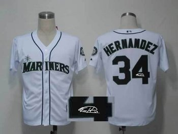 Seattle Mariners 34# Felix Hernandez White Throwback M&N MLB Jerseys(Signed)