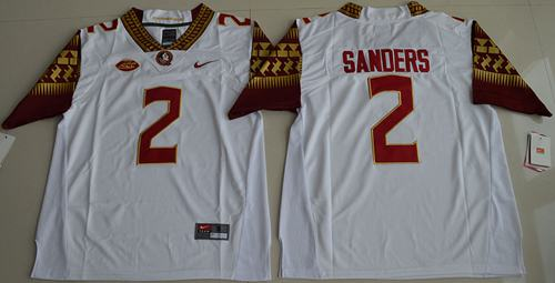 Seminoles #2 Deion Sanders White Limited Stitched NCAA Limited Jersey