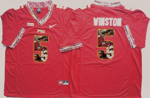 Seminoles #5 Jameis Winston Red Player Fashion Stitched NCAA Jersey