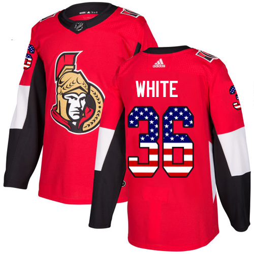 Senators #36 Colin White Red Home Authentic USA Flag Stitched Hockey Jersey