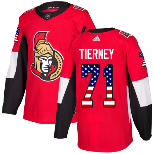 Senators #71 Chris Tierney Red Home Authentic USA Flag Stitched Hockey Jersey