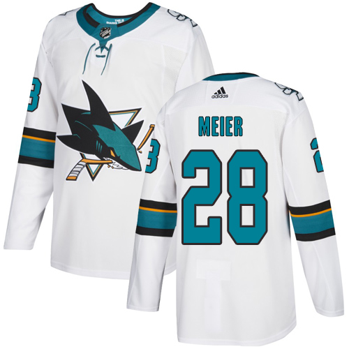 Sharks #28 Timo Meier White Road Authentic Stitched Hockey Jersey