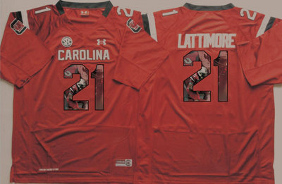 South Carolina Gamecocks 21 Marcus Lattimore Red Portrait Number College Jersey