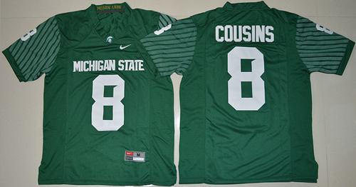 Spartans #8 Kirk Cousins Green Limited Stitched NCAA Jersey