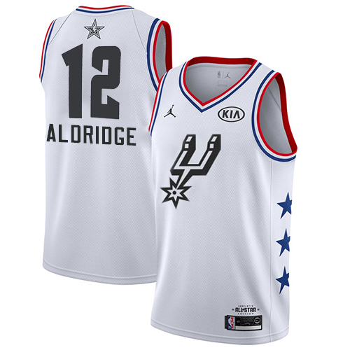 Spurs #12 LaMarcus Aldridge White Basketball Jordan Swingman 2019 All-Star Game Jersey