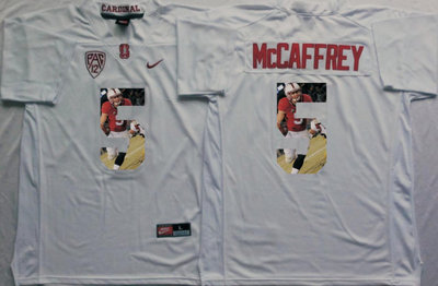 Stanford Cardinal 5 Christian McCaffrey White Portrait Number College Jersey