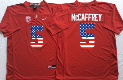 Stanford Cardinals 5 Christian McCaffrey Red USA Flag College Jersey