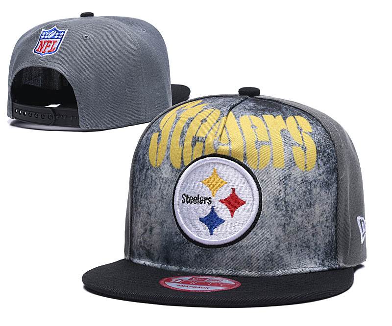 Steelers Team Logo Gray Black Adjustable Hat TX