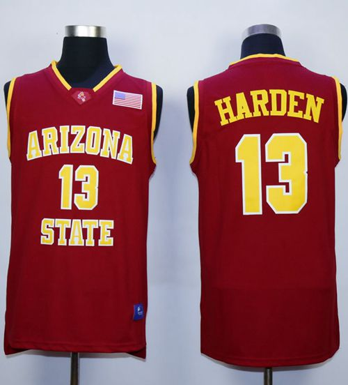 Sun Devils #13 James Harden Red Stitched NCAA Basketball Jersey