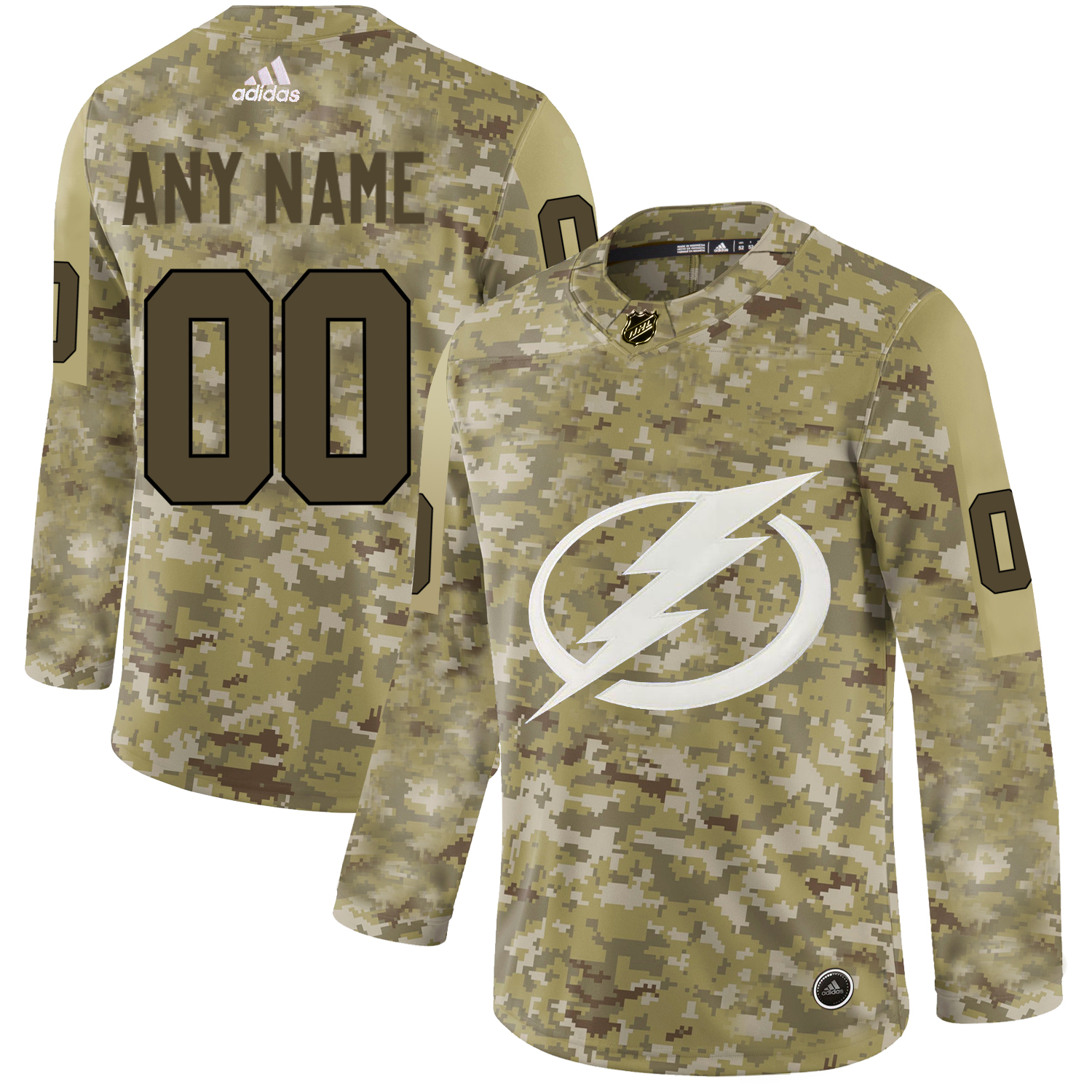 Tampa Bay Lightning Camo Men's Customized Adidas Jersey