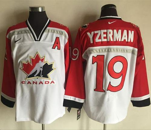 Team CA. #19 Steve Yzerman White Red Nike Throwback Stitched NHL Jersey