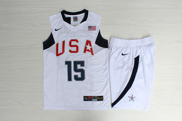 Team USA Basketball 15 Carmelo Anthony White Nike Stitched Jersey(With Shorts)