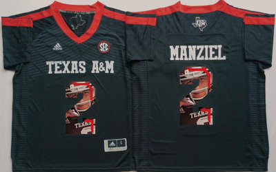 Texas A&M Aggies 2 Johnny Manziel Black Portrait Number College Jersey