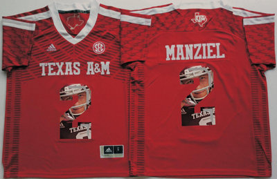 Texas A&M Aggies 2 Johnny Manziel Red Portrait Number College Jersey