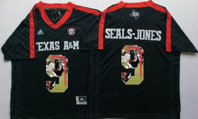 Texas A&M Aggies 9 Ricky Seals Jones Black Portrait Number College Jersey