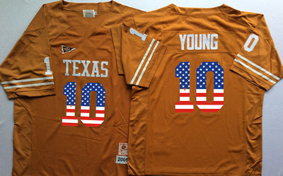 Texas Longhorns 10 Vince Young Orange USA Flag College Jersey