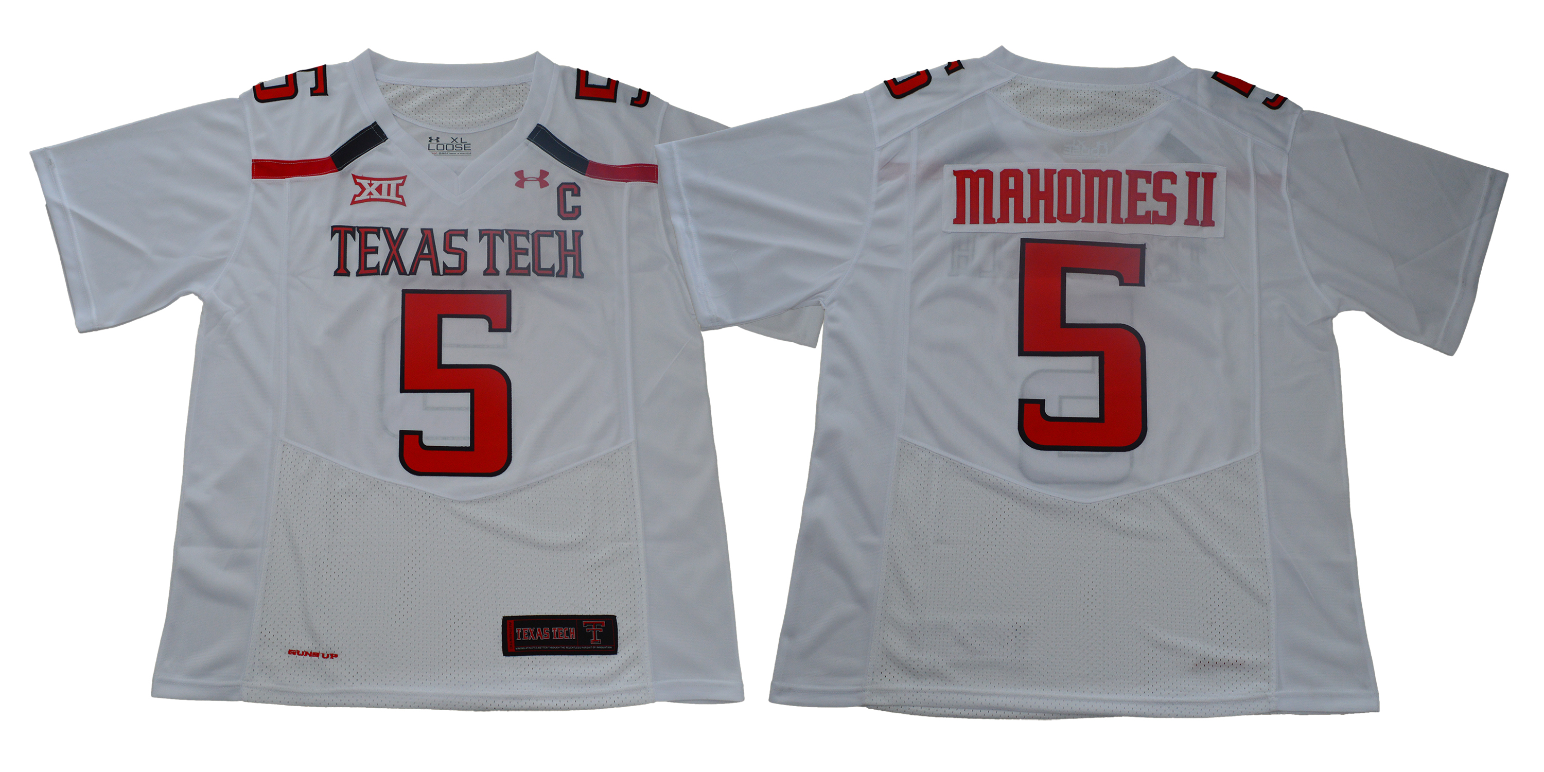 Texas Tech Red Raiders 5 Patrick Mahomes White With C Patch College Football Jersey