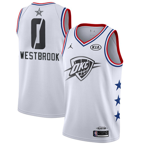 Thunder #0 Russell Westbrook White Basketball Jordan Swingman 2019 All-Star Game Jersey